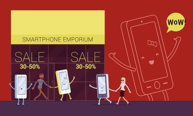 Smartphone zieht seinen besitzer in das warenhaus