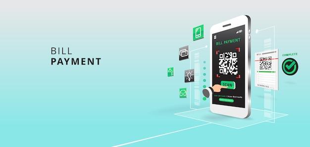 Smartphone zum scannen von qr-code auf papier nach details, technologie und geschäftskonzept mit anwendung und symbol. illustration.