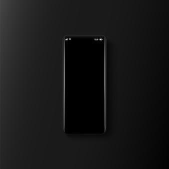 Smartphones mit gebogenem bildschirm auf schwarzem hintergrund