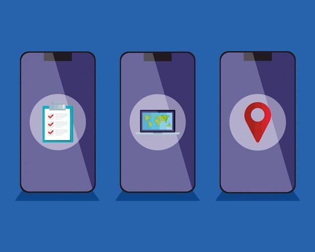 Smartphones mit lieferikonen vektor-design
