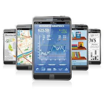 Smartphones mit verschiedenen anwendungen