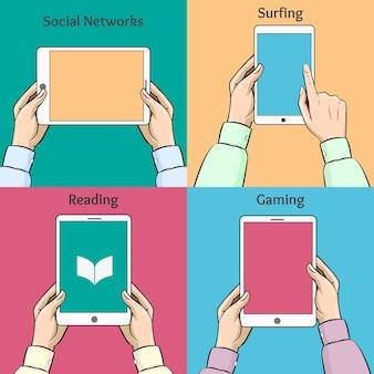 Smartphones, tablets und e-books in den händen. soziales netzwerk, surfen und spielen.