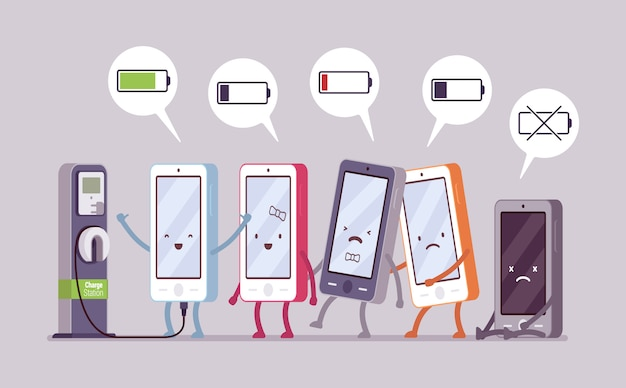 Smartphones werden in der nähe der station aufgeladen