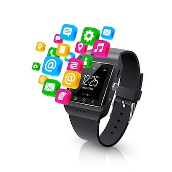 Smartwatch-anwendungsaufgaben-konzeptlustration