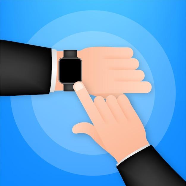 Smartwatch auf der hand. konzept tragbare technologie. zeiteinteilung. vektorgrafik auf lager