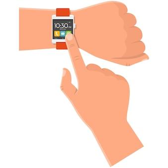 Smartwatch auf handsymbolvektor isoliert auf weiß