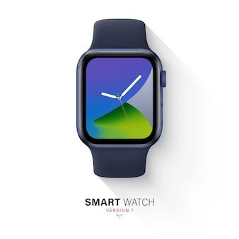 Smartwatch in aluminiumgehäuse mit silikonband draufsicht isoliert auf weißem hintergrund. flache armbanduhr blaue farbe mit sportarmband