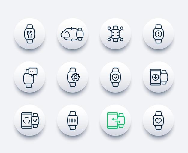 Smartwatch-liniensymbole eingestellt, synchronisierung, tragbares gerät, fitness-app, aufladen, benachrichtigungen, einstellungen