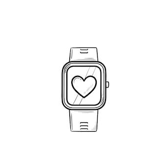Smartwatch mit gezeichnetem umriss-doodle-symbol des herzens. fitnessuhr und gesundheitswesen, modernes gadget-konzept