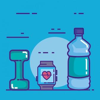 Smartwatch mit ikonen der eignung und des gesunden lebensstils