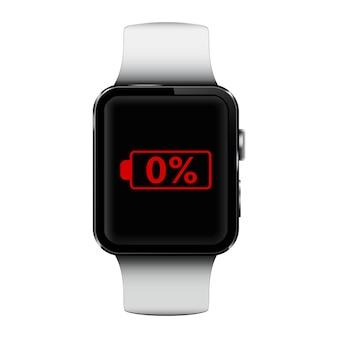 Smartwatch mit niedrigem batteriestand auf dem bildschirm