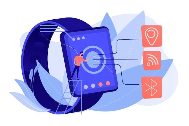 Smartwatch mit wi-fi, bluetooth und gps. drahtlose konnektivität, bluetooth- und wi-fi-technologie, nfc- und gps-technologiekonzept isolierte illustration des rosafarbenen korallenblauvektors