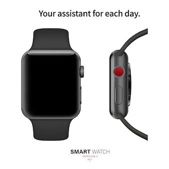 Smartwatch schwarze farbe von der seite und von vorne auf weißem hintergrund