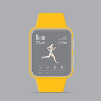 Smartwatch-technologie mit sport-fitness-tracker-anwendungen.
