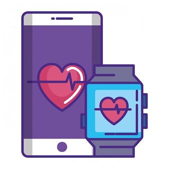 Smartwatch und smartphone mit kardiologie-app