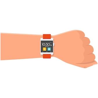 Smartwatch-vektor auf tragbarem smartwatch-symbol am handgelenk