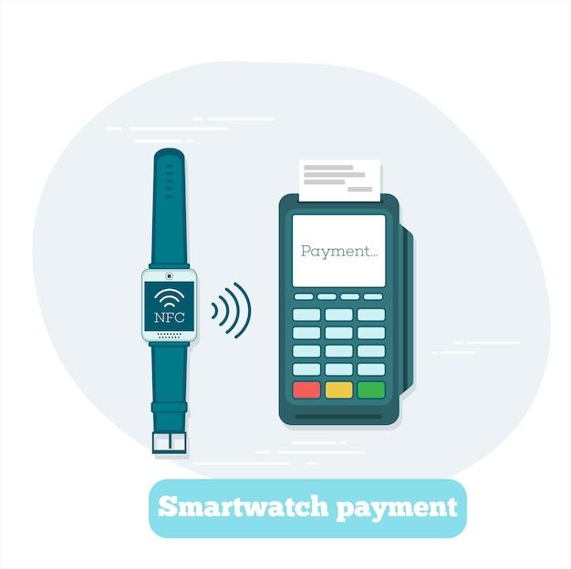 Smartwatch-zahlungskonzept im strichgrafikstil