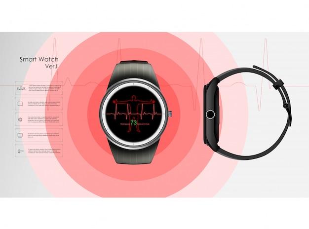 Smartwatches, die die parameter schlaf und ruhe, gesundheit und herzfrequenz überwachen. illustration