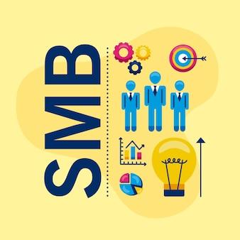 Smb-symbolgruppe auf gelbem hintergrund