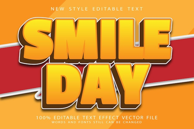 Smile day editierbarer texteffekt präge comic-stil