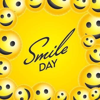 Smile day schriftart mit glänzenden smiley emoji gesichtern auf gelbem hintergrund verziert.