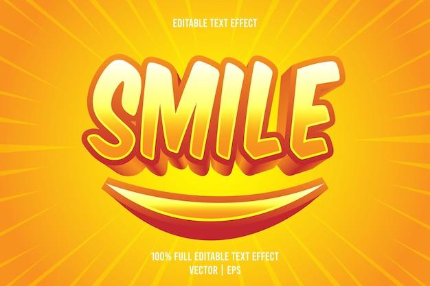 Smile editierbarer texteffekt 3-dimensionaler präge-cartoon-stil