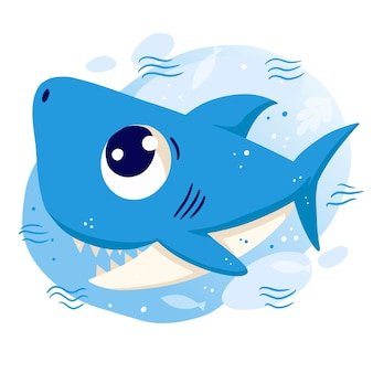 Smiley-babyhai mit blauen augen