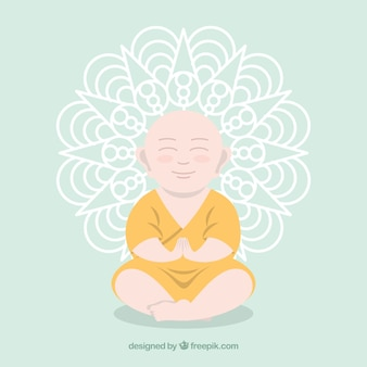 Smiley budha mit flachem design