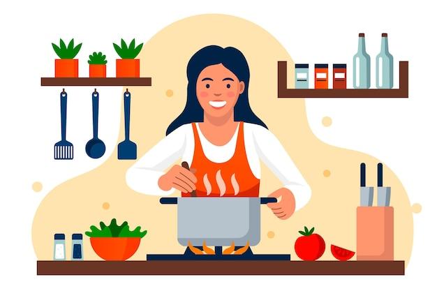 Smiley-frau, die in der küche kocht