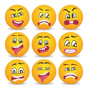 Smiley-gesichter mit unterschiedlichen gesichtsausdrücken