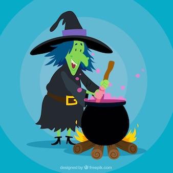 Smiley hexe kochen mit einem topf