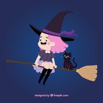 Smiley hexe mit besen und schwarze katze