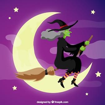 Smiley hexe und schönen nachthimmel