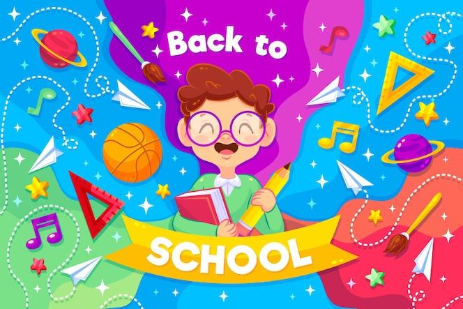 Smiley-junge illustriert mit back to school-nachricht