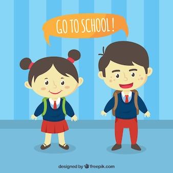 Smiley-klassenkameraden tragen uniform