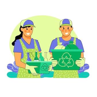 Smiley-leute recyceln zusammen