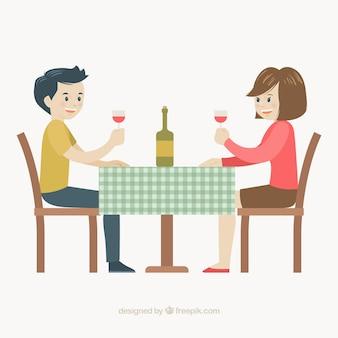 Smiley-paar trinkt wein in einem restaurant