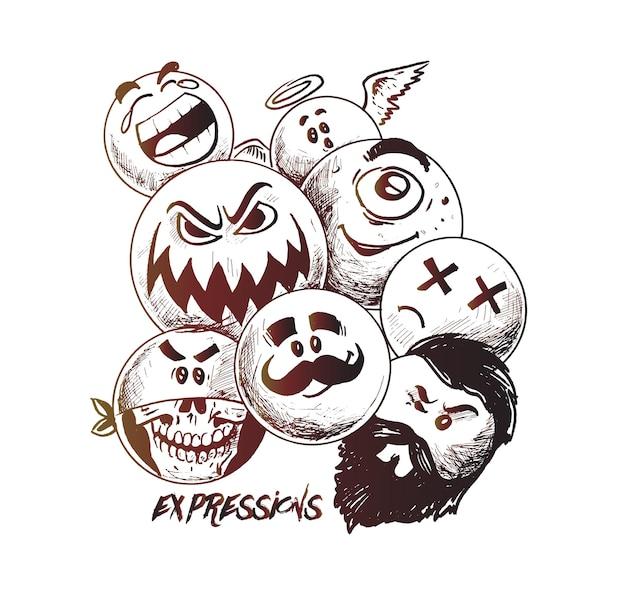 Smiley steht gruppe von vektor-emoticon-charakteren mit lustigen gesichtsausdrücken handgezeichnete skizze