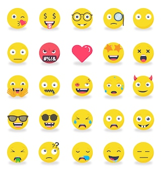 Smileys emoticons farbiger flacher ikonensatz