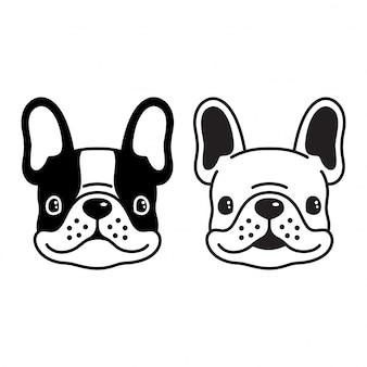 Smilng gesichtskarikatur der französischen bulldogge des hundevektors