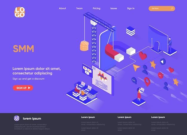 Smm 3d isometrische landingpage website illustration mit personen zeichen
