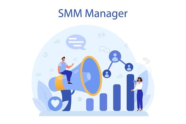Smm social media marketing konzept. werbung für unternehmen im internet über soziale netzwerke. inhalte mögen und teilen.