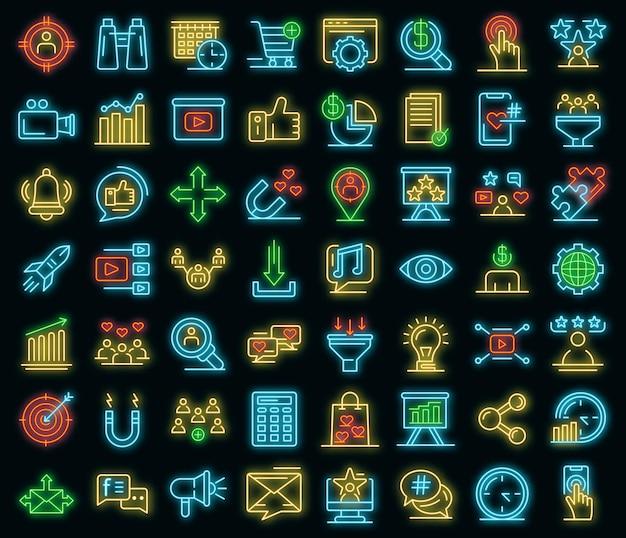Smm-symbole gesetzt. umrisse von smm-vektorsymbolen neonfarbe auf schwarz