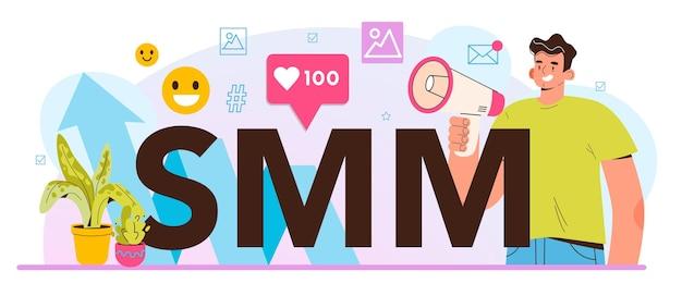 Smm typografischer header social media marketing werbung