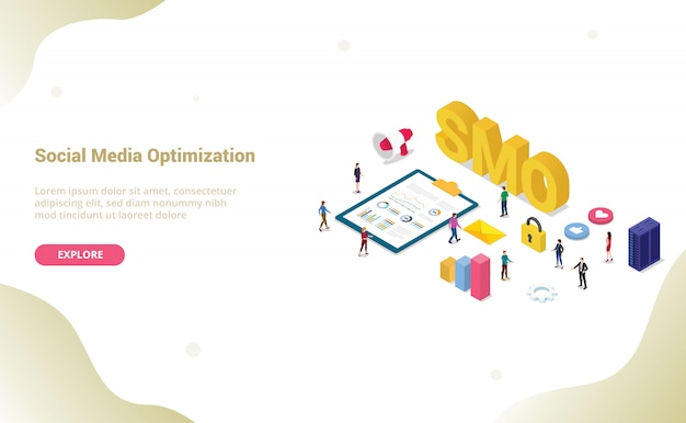 Smo-social media-optimierungskonzept mit modernem für websiteschablone oder landungshomepage