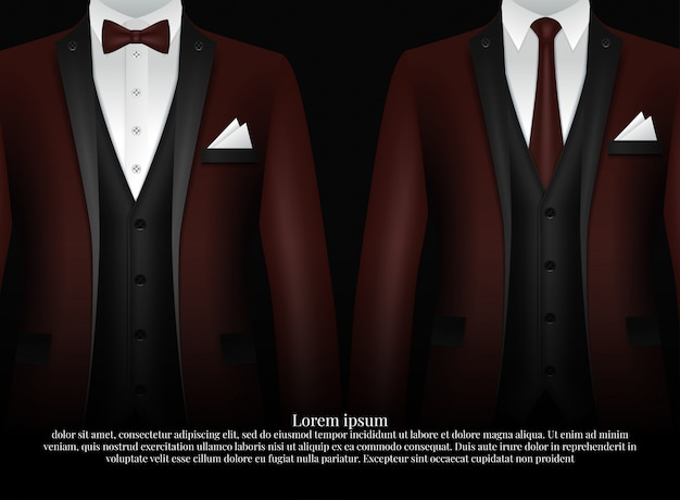 Smoking und bogen. stylischer anzug.