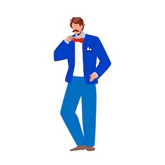 Smoking und schmetterlings-krawatte, die jungen mann-vektor trägt. schnurrbärtiger geschäftsmann, der elegante smoking-kostümkleidung trägt. charakter-kerl in der eleganz-klassischen und stilvollen anzug-flachen karikatur-illustration