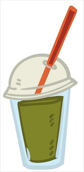 Smoothie aus obst und gemüse, isolierte ikone der tasse mit strohhalm für vegetarier oder veganer. saftige flüssigkeit mit leckeren zutaten. sellerie oder petersilie drinnen. vektor im flachen stil