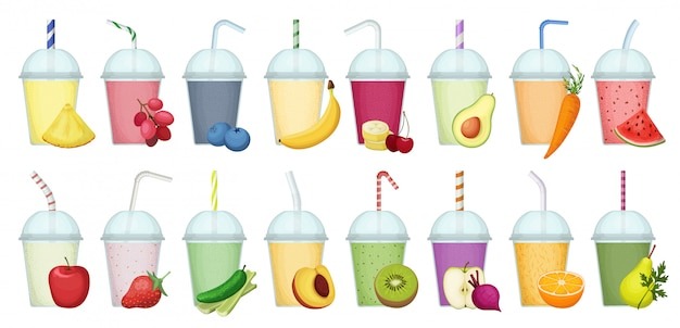 Smoothie-cartoon-set-symbol. illustration frischer saft auf weißem hintergrund. isolierter cartoon-satzikonen-smoothie.
