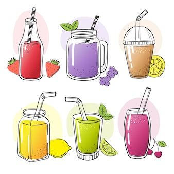 Smoothie hand gezeichnet. sommer kalte früchte trinkt gesunde flüssigkeit schütteln lebensmittelsaft für diätvektorskizzenbilder